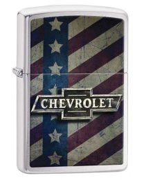 Chevy Bow Tie & Stars Zippo Lighter in Brushed Chrome 29148