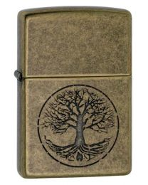 Tree of Life Zippo Lighter in Antique Brass 29149