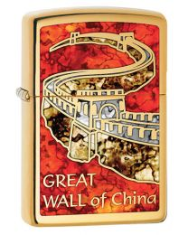 Great Wall of China Zippo Lighter in Polished Brass 29244