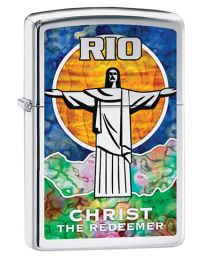 Rio - Christ The Redeemer Zippo Lighter in Polished Chrome 29256