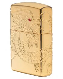 Gold Plated Chinese Dragon Armor Zippo Lighter 29265