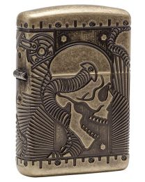 Steam Punk Skull Zippo Lighter in Armor Antique Brass 29268