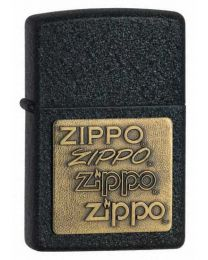 Black Crackle with Brass Emblem Zippo Lighter 362