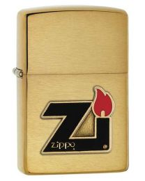 ZI Flame Logo Zippo Lighter with Brass Emblem 60000832