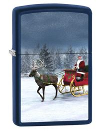 Reindeer Sleigh Zippo Lighter in Navy Blue Matte 60000843
