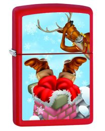 Santa Stuck in Chimney Zippo Lighter in Matte Red 60000844