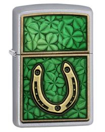 Horseshoe & Clover Zippo Lighter in Satin Chrome 60001100