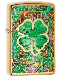 4 Leaf Clover Zippo Lighter in High Polished Brass 60002856