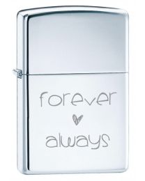 Forever and Always Zippo Lighter in Polished Chrome