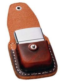 Brown Leather Zippo Lighter Pouch with Clip