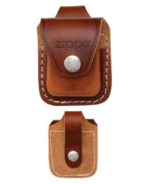 Brown Leather Zippo Lighter Pouch with Loop