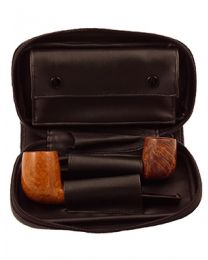 Black Leather 2 Pipe Case
