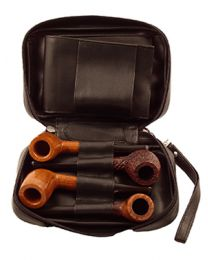 Black Leather 4 Pipe Case