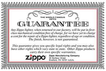 The Zippo Lifetime Guarantee - The Lighter Shop